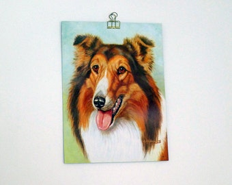 Vintage Collie Dog Print/ Lassie Print
