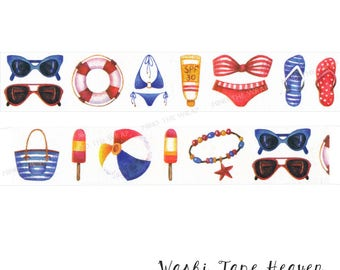 """NEW """"Beach Vacation"""" Washi Tape - 30mm x 5m - Summer Icons Planners Decoration Scrapbook Layouts Paper Crafting Supply"""