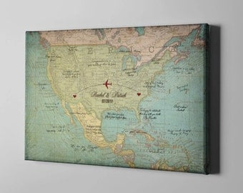 Map guest book etsy sale 50 off canvas guest book 2 countries map plotting guestbook vintage retro gumiabroncs Choice Image