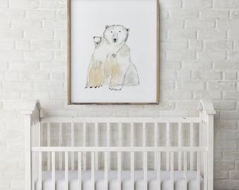 Polar bear Art Print, bear Framed Wall Art, bear watercolour Painting