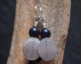 blue goldstone earrings, silver leaf earrings, leaf jewelry, silver dangle earrings, handmade with argentium silver by ARC Jewellery UK