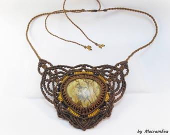 Jasper healing stone macrame necklace