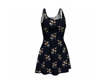 Dark Cherry Blossom Flare Dress Digital Print