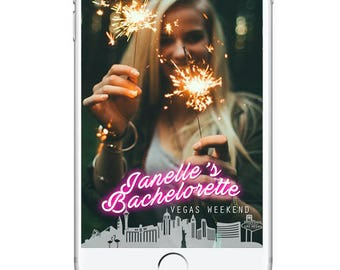 Bachelorette Party Geofilter Snapchat Filter, Bachelorette Snapchat Filter, Personalied Birthday Geofilter, Snapchat Geofilter Neon Vegas