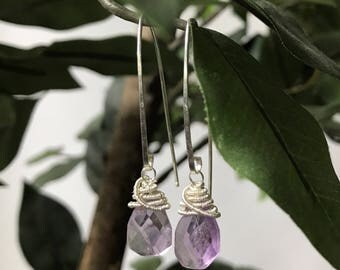 Amethyst Drop Earrings - steling silver, handcrafted, rough cut stones