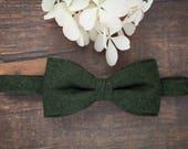 Woolen Bow Tie Dark Green Bow Tie Pre Tied Bow Tie Wool Bow Tie for Men Gift for Men Mens Bow Ties for Men Christmas Gift Men in Green