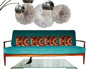 mid century modern sofa danish teak sofa iconic danish furniture turquoise 1950s atomic age couch sculptural - Mid Century Modern Furniture Of The 1950s