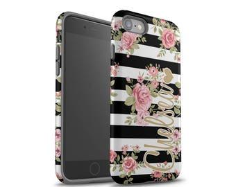 iPhone 8 Case, iPhone 7 Plus Case, iPhone 7 Case, Galaxy S8 Case, Galaxy S8 Plus Case, iPhone X Case, Floral, Stripes, Monogram Case