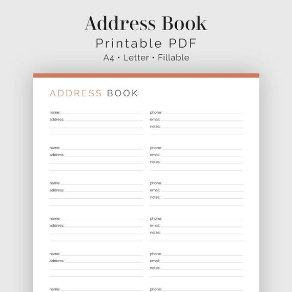 address book fillable printable pdf contact list