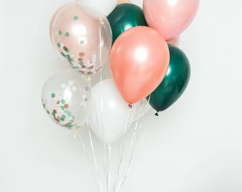 Confetti Balloon Set - Emerald Rose - Blush, Dusty Pink, Rose Gold, White, Emerald and Clear Confetti Balloons - Chic Party Balloons