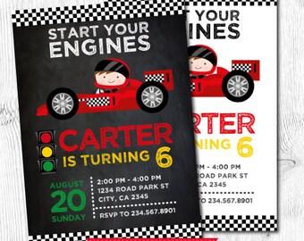 Racing invitation, Race car invitations, Racing car birthday invitation, DIGITAL, 2 Options