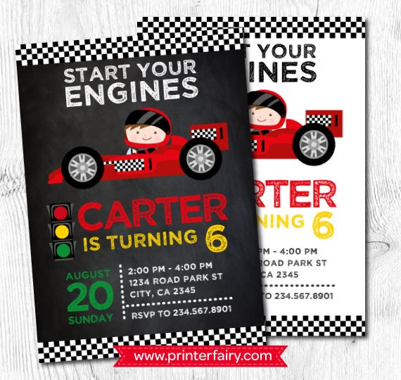Cars Invitation Card Template Free: Racing Invitation Race Car Invitations Racing Car Birthday