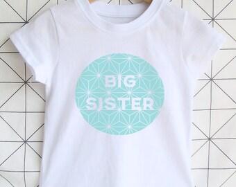 Modern Big Sister T-shirt - Geometric / Big Sister Shirt / Girls Clothing / Sibling Gift / Sister Toddler T-shirt / Pregnancy Announcement.