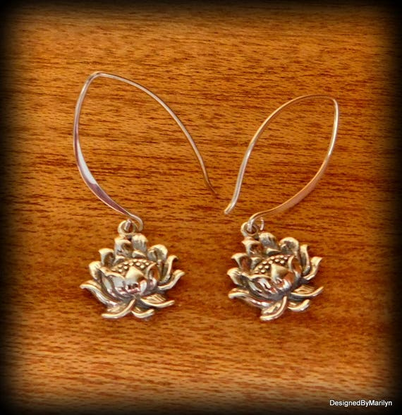 Sterling silver lotus flower earrings, yoga earrings, dangle earrings wedding earrings