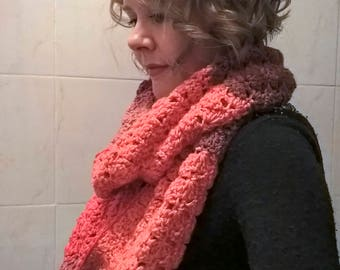 Crocheted Infinity Scarf - Red/Pink/Purple/Orange - Handmade