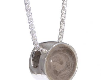 Sliding Solitaire Cremation Pendant, 6mm - Sterling Silver Pet Cremation Jewelry
