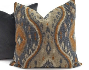 Gray, Taupe, Blue, Tan & Cinnamon Woven Ikat Throw Pillow Cover