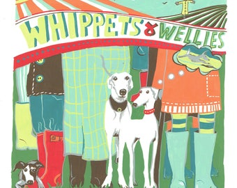 Whippets and Wellies - Original painting in gouache by Kate Cooke for Port and Lemon