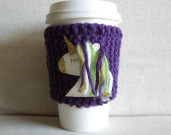Unicorn Coffee Cozy, Mug Sweater, Coffee Sleeve, Mug Cozy / Purple, Gold, Green