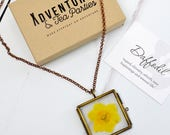Hand pressed daffodil necklace - flower pendant - stocking filler gift - gift for bridesmaid - mother of the bride gift - mother's day gift