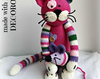Stuffed Cat with mouse handmade crochet on request.