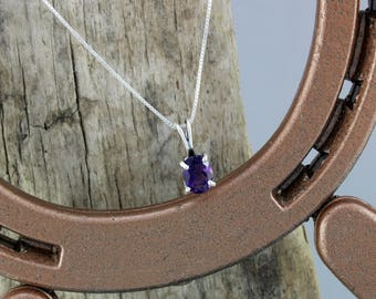 Sterling Silver Pendant/Necklace -Purple Amethyst Pendant/Necklace - Sterling Silver Setting with a 8mm x 6mm Natural Purple Amethyst Stone