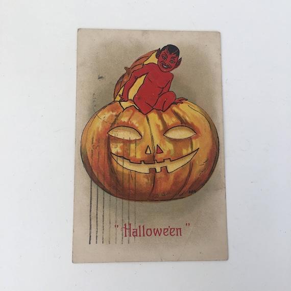 Original German Halloween postcard from 1909