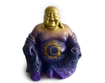 Laughing Buddha Statue // Meditation // Zen Garden // Sun and Moon Decor // Feng Shui // Yoga Gift // Sacred Space // Altar // Celestial