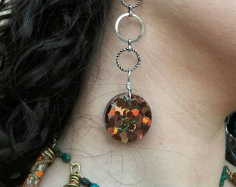 Blacklight Dangle Earrings - UV Reactive - Glitter - Resin Jewelry