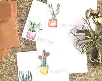 Succulent and Cacti variety version 2 stationary flat card set of 8