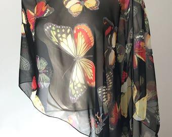 Silk Chiffon Butterfly Poncho