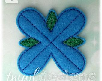 4 Petal Blue Troll Hair Flower OS Feltie Digital Design File