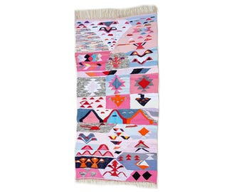 "89""X45"" Handwoven moroccan kilim rug, boucherouite rug, handmade rug, geometric pattern, colorful rug, chic ethnic, moroccan decor"