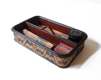 Antique Pen Holder Pen Tray Vintage Desk Organizer Desk Decor Straw and Wooden Pen Tray 1930s
