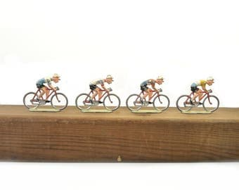Set of 4 Cycling Toys Vintage Bicycle Toys Metal Cyclists Collectibles Roger 1950s Tour de France