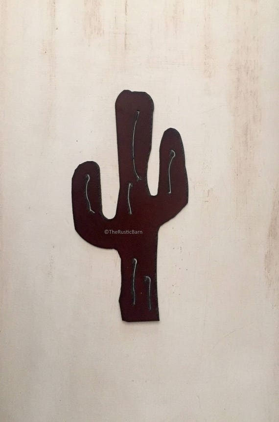 Rusted CACTUS wall sign made of Rustic Rusty Rusted Recycled Metal