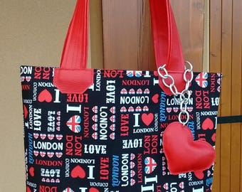 London red and black tote bag