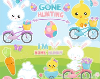 80% OFF SALE Easter ride clipart commercial use, clipart, vector graphics, digital clip art - CL1127