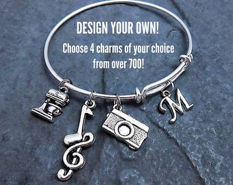 Custom Charm Bracelet - Expandable Bangle - Customize your own charm bracelet - Choose up to 4 charms - Affordable Jewelry - Gift for Her