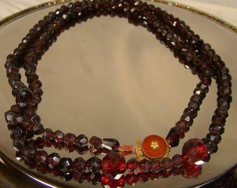 19th Century Dutch Red Glass Necklace 14k Carnelian Clasp