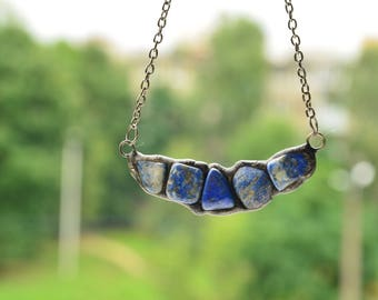 Blue Lapis Lazuli necklace, Rough Stone Pendant, boho gift for woman, Mineral Jewelry, copper bar necklace