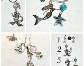 Custom SILVER MERMAID SCALES Charms Beach Coastal Keychain Bracelet Necklace Silver Starfish Jewelry Car Mirror Hanging Charm Key Ring