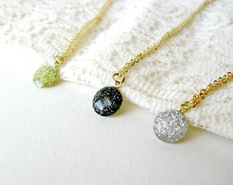 Tiny Glitter Gold Necklace- Unique Silver Gold and Blue pendant- Delicate elegant jewelry- Everyday casual necklace