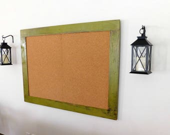 36 x 48 FRAMED BULLETIN BOARD - Cork Board - Back to School - Industrial - Distressed - Shown in Olive - More Colors Available