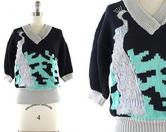1980s peacock sweater •  peacock appliqué top • short sleeve sweater • novelty print sweater • bird sweater S/M