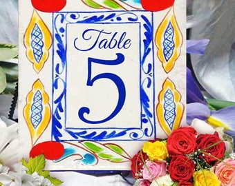 Custom table numbers for wedding, House number plaque, Hand painted ceramic sign, Porcelain door numbers, Address sign, Housewarming gift