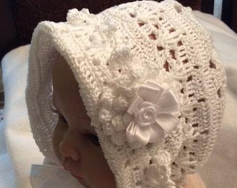 A crochet pdf downloadable pattern for baby Erika bonnet and headband, thread crochet bonnet and headband , baby christening bonnet and head