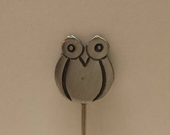 Vintage Owl lapel hat stick pin Silver Tone mid century modern style