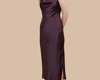 SILK MIDI SLIP Dress with Slit | Gorgeous Silk Color Options | For Proms Weddings Dinner Fun | Available in midi mini maxi lengths