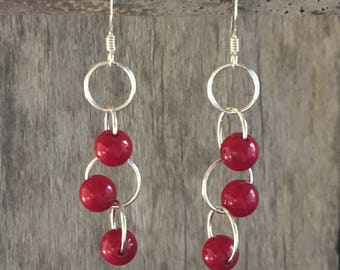 Red Coral Cascading Circles Earrings, sterling silver, mind/body/spirit, relationship harmony, hand-crafted